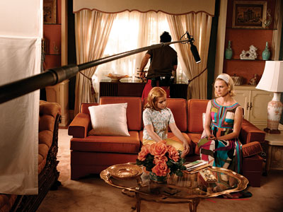 On the set of Mad Men.